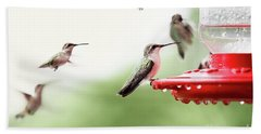 Ruby-throated Hummingbirds Bath Towel