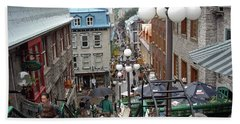 Bath Towel featuring the photograph rue du Petit Champlain by John Schneider
