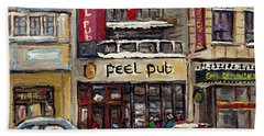 Rue Peel Montreal Winter Street Scene Paintings Peel Pub Cafe Republique Hockey Scenes Canadian Art Hand Towel
