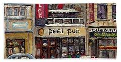Rue Peel Montreal Winter Street Scene Paintings Peel Pub Cafe Republique Hockey Scenes Canadian Art Bath Towel