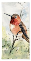 Rufous Hummingbird Bath Towel by Sam Sidders