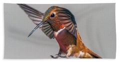 Rufous Male Hummingbird Bath Towel