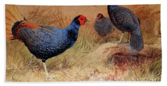 Rufous Tailed Crested Pheasant Hand Towel