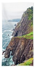 Rugged Oregon Coast On A Foggy Day Hand Towel