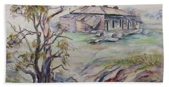 Hand Towel featuring the painting  Ruins Of Squatter's Arms Inn, Cookardinia. 2 Of Pair. by Ryn Shell
