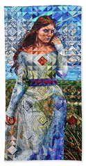 Hand Towel featuring the painting Rules Of Refraction by Greg Skrtic