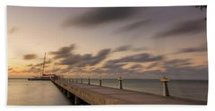 Bath Towel featuring the photograph Rum Point Grand Cayman At Dusk by Adam Romanowicz