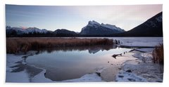 Rundle Mountain Reflections Bath Towel