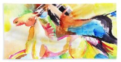 Running Horses Color Hand Towel
