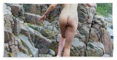 Running Nude Girl On Rocks Hand Towel