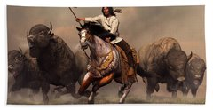 Running With Buffalo Hand Towel by Daniel Eskridge