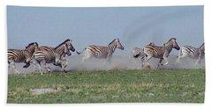 Running Zebras Hand Towel by Bruce W Krucke