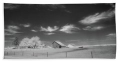 Rural Landscape, Black And White Infrared Bath Towel