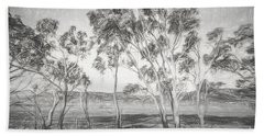 Rural Landscape Pencil Sketch Bath Towel