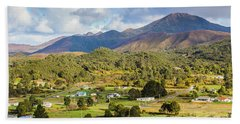 Rural Landscape With Mountains And Valley Village Bath Towel