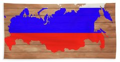 Russia Rustic Map On Wood Hand Towel