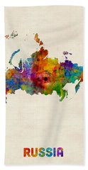 Russia Watercolor Map Hand Towel