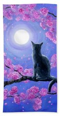 Russian Blue Cat In Pink Flowers Hand Towel