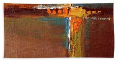 Hand Towel featuring the painting Rust Abstract Painting by Nancy Merkle