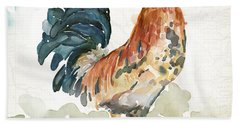 Rust Rooster Hand Towel by Mauro DeVereaux