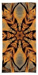 Rustic Barbed Flower Star Mandala Bath Towel by Wernher Krutein