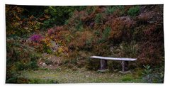 Hand Towel featuring the photograph Rustic Bench In The Autumn Irish Countryside by James Truett