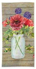 Rustic Country Red Poppy W Alium N Ivy In A Mason Jar Bouquet On Wooden Fence Bath Towel by Audrey Jeanne Roberts