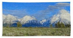 Rustic Grand Teton Range On Wood Hand Towel by Dan Sproul