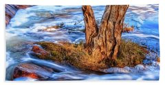 Hand Towel featuring the photograph Rustic Island, Noble Falls by Dave Catley