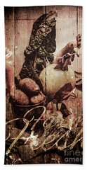 Rustic Kitchen Tin Sign Hand Towel