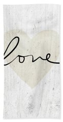 Bath Towel featuring the mixed media Rustic Love Heart- Art By Linda Woods by Linda Woods