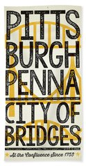 Rustic Style Pittsburgh Poster Hand Towel by Jim Zahniser