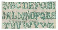 Rustic Vine Font Capital Letters Bath Towel