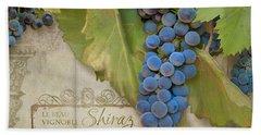 Rustic Vineyard - Shiraz Wine Grapes Over Stone Hand Towel