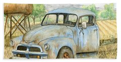 Rusty Blue Chevy Hand Towel