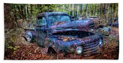 Hand Towel featuring the photograph Rusty Blue Vintage Ford  Truck by Debra and Dave Vanderlaan