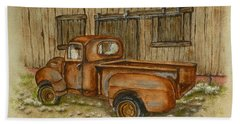 Rusty Old Ford Pickup Truck Hand Towel by Kelly Mills