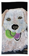 Hand Towel featuring the painting Rusty On Canvas by Janice Rae Pariza