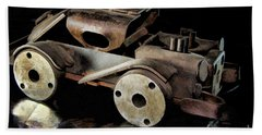 Bath Towel featuring the photograph Rusty Rat Rod Toy by Wilma Birdwell