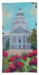 Sacramento Capitol And Roses Hand Towel