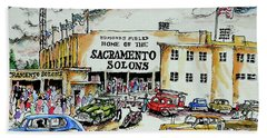 Hand Towel featuring the painting Sacramento Solons by Terry Banderas