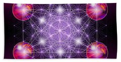 Hand Towel featuring the digital art Sacred Geometry Metatron by Alexa Szlavics