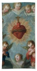 Sacred Heart Of Jesus Surrounded By Angels Hand Towel