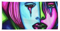 Sad Crying Woman Face Abstract Art Hand Towel