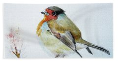 Bath Towel featuring the painting Sad Robin by Jasna Dragun