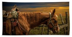 Saddle Horse On The Prairie Hand Towel