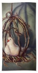 Hand Towel featuring the painting The Dove by Randol Burns