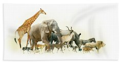 Safari Animals Walking Side Horizontal Banner Bath Towel