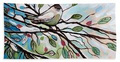 Sage Glimmering Songbird  Hand Towel