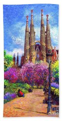 Sagrada Familia And Park,barcelona Hand Towel by Jane Small